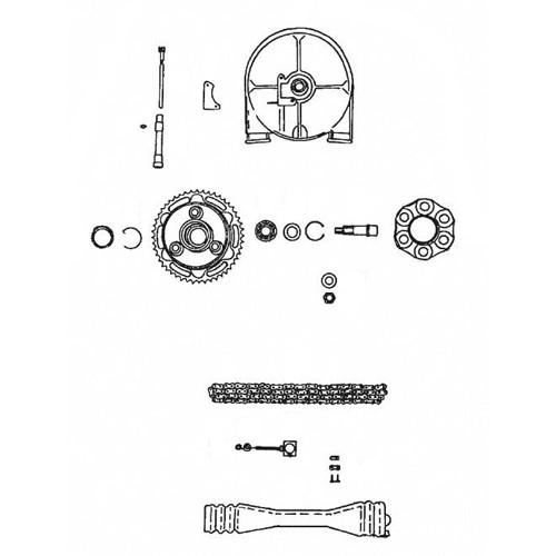 8 - Transmission roue arrière, entraînement compteur