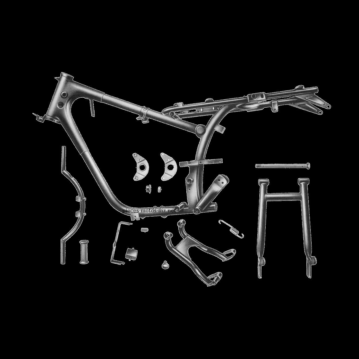 Cadre, béquille centrale, bras oscillant MZ ETS 250