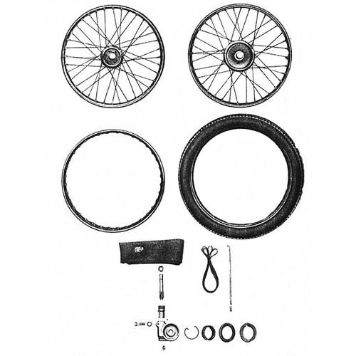 Roues, pneus, commande de compteur RT 125/1 125/2