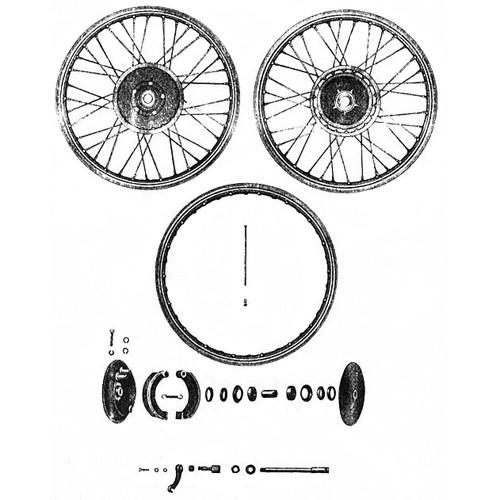 Roue avant, moyeu, frein RT 125/1 125/2