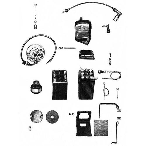 Dynamo, boîte bobine, batterie, câble d'allumage RT 125