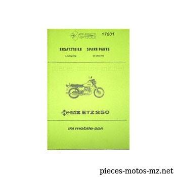 Catalogue de pièces MZ ETZ 250 - 1986 - DE
