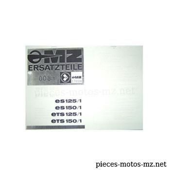 Catalogue de pièces MZ ES ETS 125 150 - DE