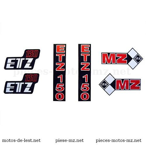 Set 6 autocollants moto MZ ETZ 250 : réservoir, fourche, coffrets latéraux (HU)