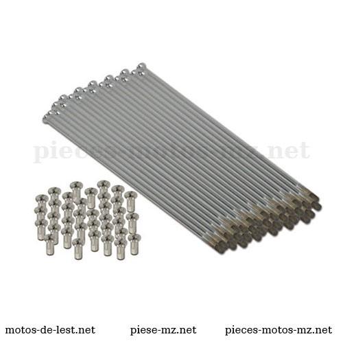 Set rayons inox 121 mm MZ ES 175 250 300, TS 250 250/1, MZ ETZ 125 150 - 80-50.110, 93-71.326, 93-71.226, 80-50.005