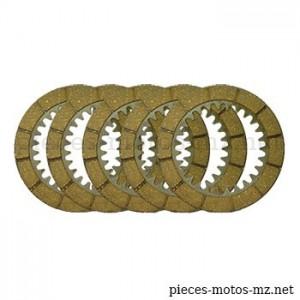 Set 5 disques embrayage MZ ES 175 250 300, MZ TS ETS 250, MZ ETZ 250 251 301 - 05-44.123