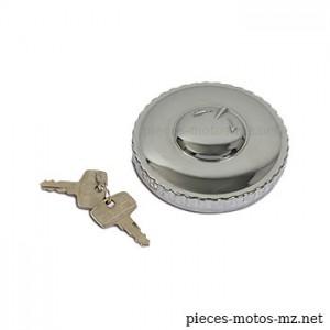 Bouchon chromé à clé pour toutes motos MZ, diamètre 60 mm