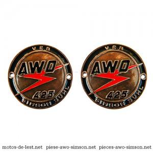 Emblèmes réservoir Simson Awo Touren 425T, cuivre, noir et rouge, Référence Simson 03943
