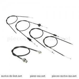 Set 5 câbles de commande, noirs, pour motos MZ TS 250, MZ TS 250/1, guidon plat (EU)
