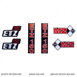 Set 6 autocollants moto MZ ETZ 150 : réservoir, fourche, coffrets latéraux (HU)