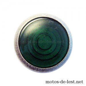Verre lampe témoin vert cerclage aluminium IFA BK 350, MZ RT 125